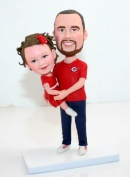 Custom Father and daughter bobbleheads